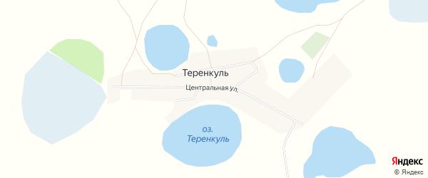 Карта деревни Теренкуля в Челябинской области с улицами и номерами домов
