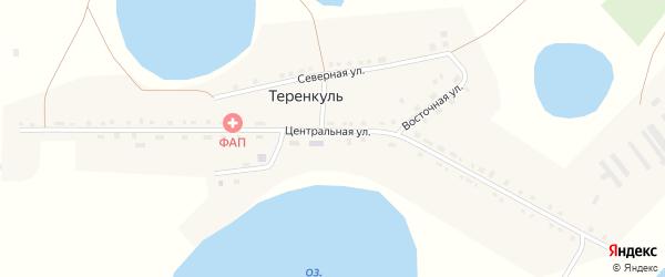 Береговая улица на карте деревни Теренкуля с номерами домов