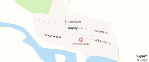Набережная улица на карте деревни Харлуши с номерами домов