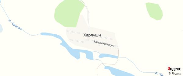Карта деревни Харлуши в Челябинской области с улицами и номерами домов