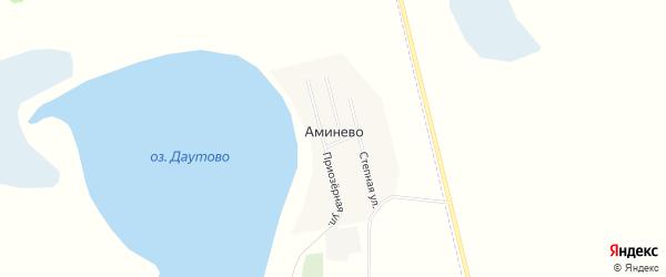 Карта деревни Аминево в Челябинской области с улицами и номерами домов