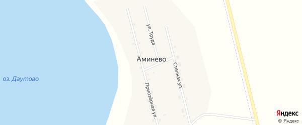 Приозерная улица на карте деревни Аминево с номерами домов
