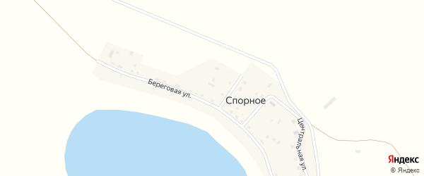 Центральный 1-й переулок на карте деревни Спорного с номерами домов