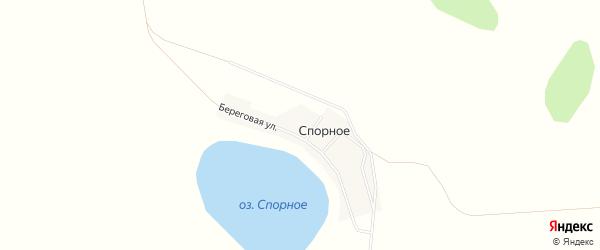 Карта деревни Спорного в Челябинской области с улицами и номерами домов