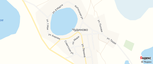 Карта села Чудиново в Челябинской области с улицами и номерами домов