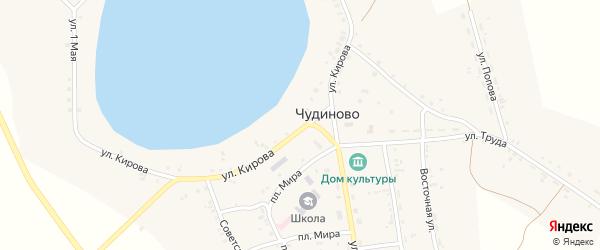 Колхозная улица на карте села Чудиново с номерами домов