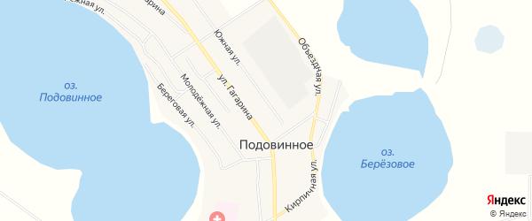 Карта Подовинного села в Челябинской области с улицами и номерами домов