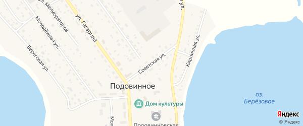 Советская улица на карте Подовинного села с номерами домов
