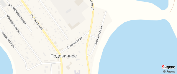 Объездная улица на карте Подовинного села с номерами домов