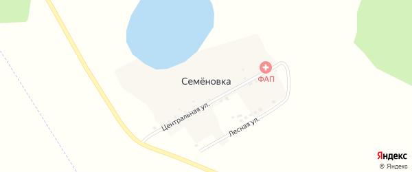Лесная улица на карте деревни Семеновки с номерами домов