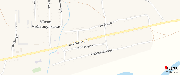 Улица 8 Марта на карте Уйска-Чебаркульской деревни с номерами домов