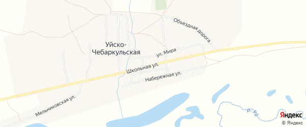 Карта Уйска-Чебаркульской деревни в Челябинской области с улицами и номерами домов