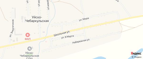 Набережная улица на карте Уйска-Чебаркульской деревни с номерами домов