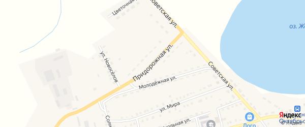 Придорожная улица на карте Октябрьского села с номерами домов