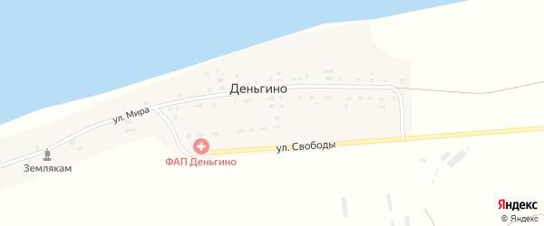 Улица Мира на карте деревни Деньгино с номерами домов