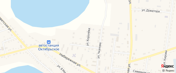Улица Королева на карте Октябрьского села с номерами домов