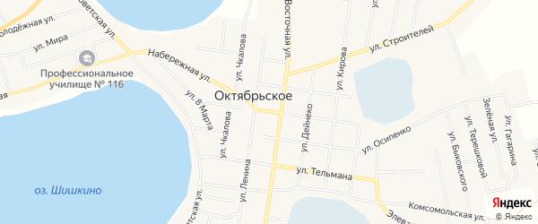 Карта Октябрьского села в Челябинской области с улицами и номерами домов