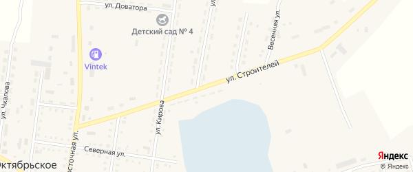 Улица Строителей на карте Октябрьского села с номерами домов
