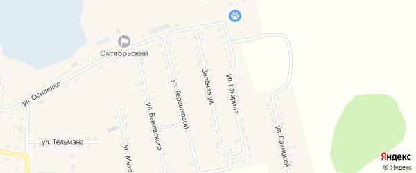Зеленая улица на карте Октябрьского села с номерами домов