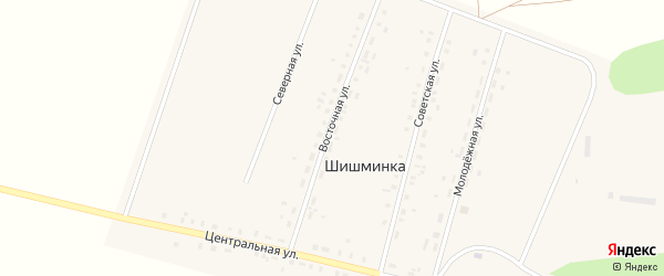 Восточная улица на карте деревни Шишминки с номерами домов