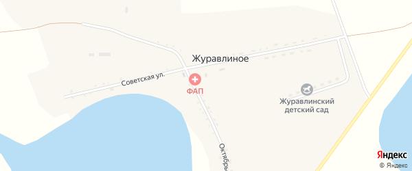 Октябрьская улица на карте деревни Журавлиного с номерами домов