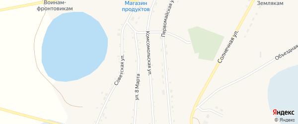 Комсомольская улица на карте села Кочердыка с номерами домов