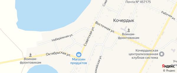 Советская улица на карте села Кочердыка с номерами домов