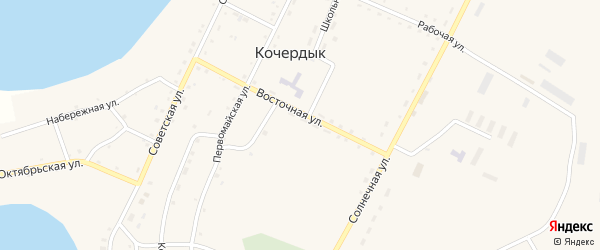 Набережная улица на карте села Кочердыка с номерами домов