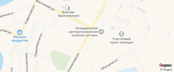 Солнечная улица на карте села Кочердыка с номерами домов