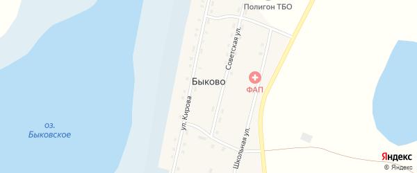 Школьная улица на карте деревни Быково с номерами домов