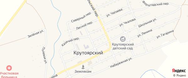Зеленая улица на карте Крутоярского поселка с номерами домов