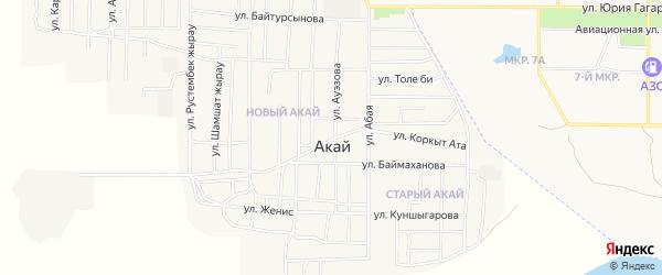 Карта поселка Акая в Байконуре с улицами и номерами домов