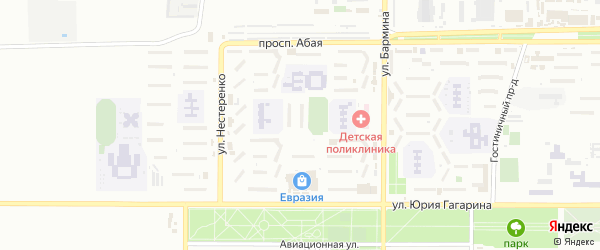 6-й микрорайон на карте Байконура с номерами домов