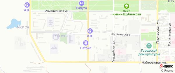 Комсомольская улица на карте Байконура с номерами домов