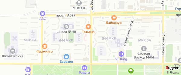 Улица Бармина на карте Байконура с номерами домов