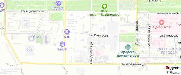 Гвардейская улица на карте Байконура с номерами домов