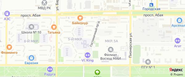 Гостиничный проезд на карте Байконура с номерами домов