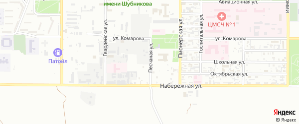 Песчаная улица на карте Байконура с номерами домов
