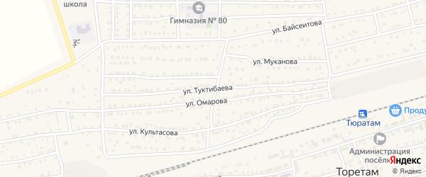 Улица Туктибаева на карте поселка Тюры-Тама с номерами домов