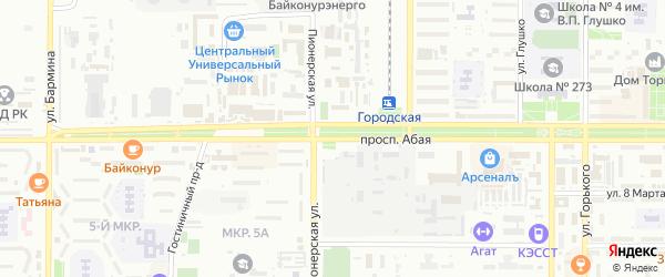 Проспект Абая на карте Байконура с номерами домов