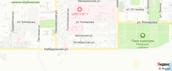 Школьная улица на карте Байконура с номерами домов