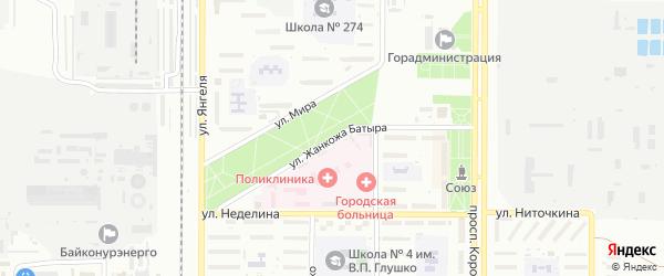 Улица Жанкожа-Батыра на карте Байконура с номерами домов