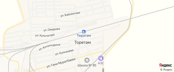 Карта поселка Тюры-Тама в Байконуре с улицами и номерами домов