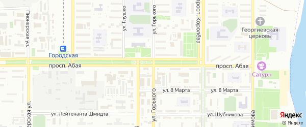 Зеленая улица на карте поселка Акая с номерами домов