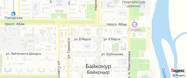 Улица 8 Марта на карте Байконура с номерами домов