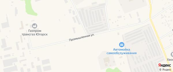 Промышленная улица на карте Югорска с номерами домов