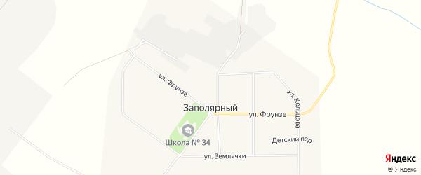 Карта Заполярного поселка города Воркуты в Коми с улицами и номерами домов