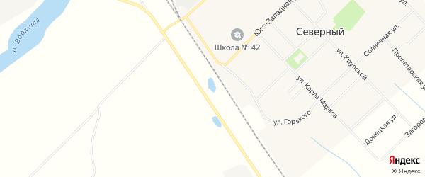 Карта Северного поселка города Воркуты в Коми с улицами и номерами домов