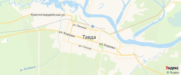 Карта Тавды с районами, улицами и номерами домов