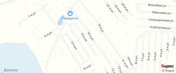 Мирная улица на карте садового некоммерческого товарищества Лесной сказки с номерами домов